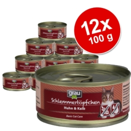 Sparpaket Grau Schlemmertöpfchen getreidefrei 12 x 100 g - Huhn & Kalb