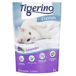 3x 5Liter Katzenstreu aus Silicium Crystals Tigerino: Jetzt Duftkerze Lavendel. Schnell entfernt Gerüche, hat Trockenhalteeffekt und sehr ergiebig. Ökologische. - 1