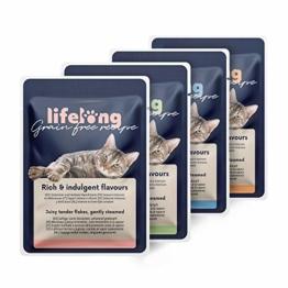 Amazon-Marke: Lifelong Getreidefreies Nassfutter für ausgewachsene Katzen (Fleischauswahl in Gelee: Huhn, Ente, Truthahn, Rind) ,2,4 kg (28 Beutel x 85g) - 1