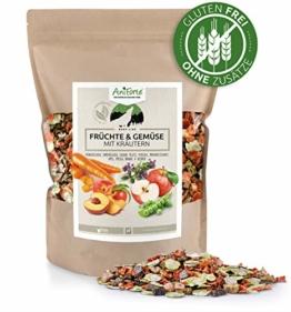 AniForte Barf Zusatz für Hunde Früchte und Gemüse mit Kräutern 1kg - Naturprodukt, Barf Ergänzungsfutter, glutenfrei, Flocken ohne künstliche Zusätze, 100% Natur Ergänzung barfen, Futter - 1