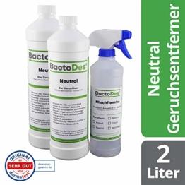 BactoDes Neutral | Geruchsneutrales, vielfältiges Geruchsentferner-Konzentrat | 2x1Liter inkl. Geruchsneutralisierer Spray-Flasche - 1