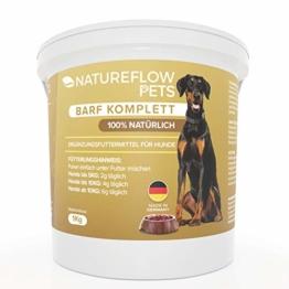 Natureflow Barf Zusatz Hund - 1kg Natürliches Barf Pulver Made in Germany als Hochwertige Rundumversorgung - Liefert wertvolle Mineralstoffe für Hunde - Fördert Vitalität beim Barfen für Hunde - 1