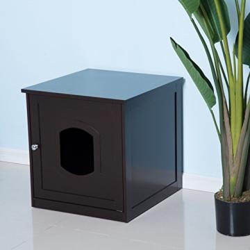 Pawhut Katzenhaus für Katzenbett oder Katzentoilette, Katzenschrank, Katzenklo Indoor, MDF, Braun, 48 x 51 x 51 cm - 4