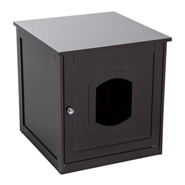 Pawhut Katzenhaus für Katzenbett oder Katzentoilette, Katzenschrank, Katzenklo Indoor, MDF, Braun, 48 x 51 x 51 cm - 1