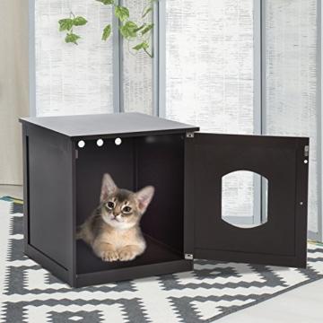 Pawhut Katzenhaus für Katzenbett oder Katzentoilette, Katzenschrank, Katzenklo Indoor, MDF, Braun, 48 x 51 x 51 cm - 6