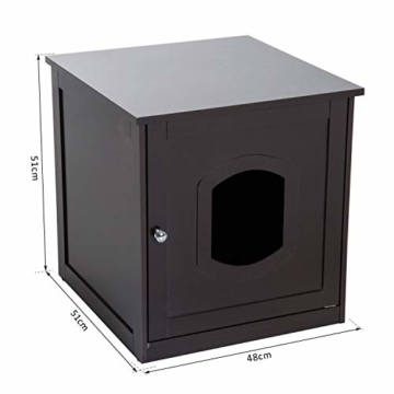 Pawhut Katzenhaus für Katzenbett oder Katzentoilette, Katzenschrank, Katzenklo Indoor, MDF, Braun, 48 x 51 x 51 cm - 8
