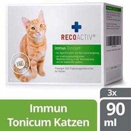 RECOACTIV® Immun Tonicum für Katzen, 3 x 90 ml, zur Vorbeugung und Immunstärkung der Katze, wirkungsvoller diätischer Appetitanreger für Katzen bei Appetitlosigkeit - 1