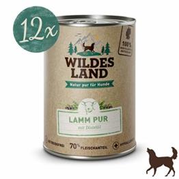Wildes Land Hundefutter Nassfutter Lamm PUR 400g (12 x 400g) - 1