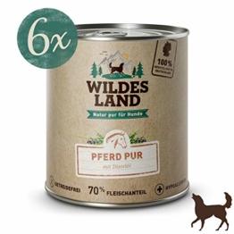 Wildes Land Hundefutter Nassfutter Pferd PUR 800g (6 x 800g) - 1