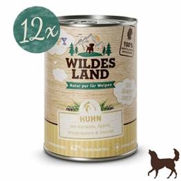Wildes Land Hundfutter Nassfutter Puppy Huhn mit Karotte 400g (12 x 400g) - 1