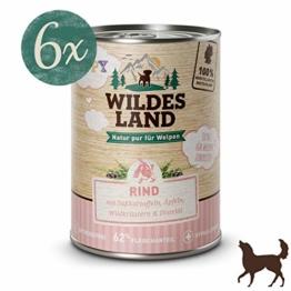 Wildes Land Hundfutter Nassfutter Puppy Rind mit Süßkartoffeln 400g (12 x 400g) - 1