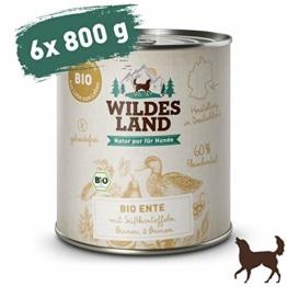 Wildes Land | Nassfutter für Hunde | Bio Ente | 6 x 800 g | Getreidefrei & Hypoallergen | Extra hoher Fleischanteil von 60% | 100% zertifizierte Bio-Zutaten | Beste Akzeptanz und Verträglichkeit - 1