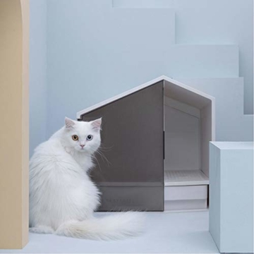 ZWW Großes Geschlossenes Katzentoilettenhaus, Anti-Spritz-Katzentoilettenbox Mit Schublade Und Schaufel - 7
