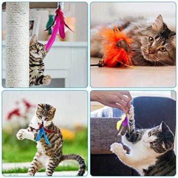 Ertisa Interaktive Katzenspielzeug mit Federn, 11 Stück Katze Toys Einziehbare Natürliche Federstab Katze Spielzeug, Verschiedenen bunten Federspielzeugen mit Glocken Katzenspielzeug - 2