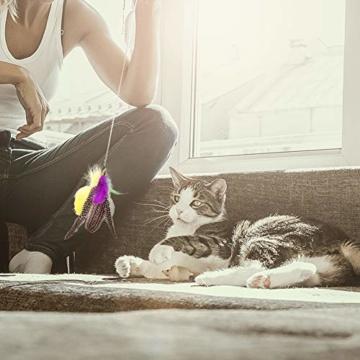 Ertisa Interaktive Katzenspielzeug mit Federn, 11 Stück Katze Toys Einziehbare Natürliche Federstab Katze Spielzeug, Verschiedenen bunten Federspielzeugen mit Glocken Katzenspielzeug - 3