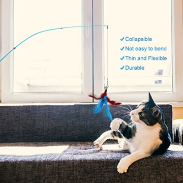 Ertisa Interaktive Katzenspielzeug mit Federn, 11 Stück Katze Toys Einziehbare Natürliche Federstab Katze Spielzeug, Verschiedenen bunten Federspielzeugen mit Glocken Katzenspielzeug - 5
