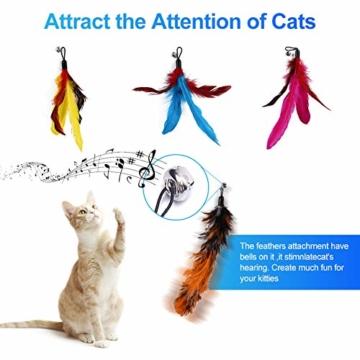 Ertisa Interaktive Katzenspielzeug mit Federn, 11 Stück Katze Toys Einziehbare Natürliche Federstab Katze Spielzeug, Verschiedenen bunten Federspielzeugen mit Glocken Katzenspielzeug - 6