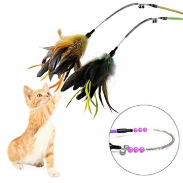 KTL Katzenspielzeug mit Feder, Katzenspielzeug, Katzen-Federstab mit Glöckchen, 7-teiliges Set - 2