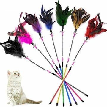 KTL Katzenspielzeug mit Feder, Katzenspielzeug, Katzen-Federstab mit Glöckchen, 7-teiliges Set - 1