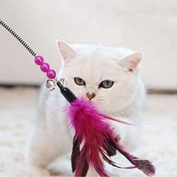 KTL Katzenspielzeug mit Feder, Katzenspielzeug, Katzen-Federstab mit Glöckchen, 7-teiliges Set - 6