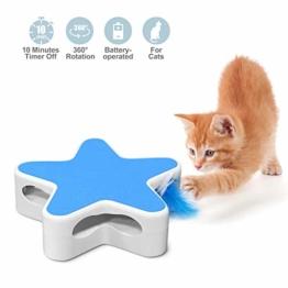 Nice Dream Katzen Federspielzeug, Interaktives Katzenspielzeug, Fünfzackige Sternenkiste Elektrisch Spielzeug für Katzen mit Automatisch Drehfeder Teaser (Blau) - 1