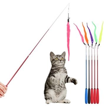 UEETEK 5 Stück Katze Wurm Teaser und Exerciser,Teaser Nachfüllungen Spielzeug Katze Winkel Ersatz für Kätzchen Katze Wand - 2