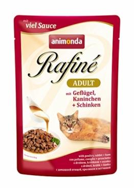 animonda Rafiné Adult Katzenfutter, Nassfutter für ausgewachsene Katzen, Frischebeutel, Geflügel, Kaninchen, Schinken, 12 x 100 g - 1