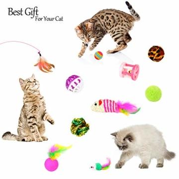 EKKONG 20 Stück Katzenspielzeug Set, Federspielzeug für Katzen, Variety katzenspielzeug Pack, Katze Toys mit Federspielzeug Bälle Maus für Katze Kitty - 2