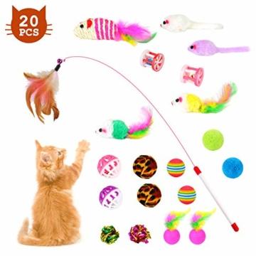 EKKONG 20 Stück Katzenspielzeug Set, Federspielzeug für Katzen, Variety katzenspielzeug Pack, Katze Toys mit Federspielzeug Bälle Maus für Katze Kitty - 1