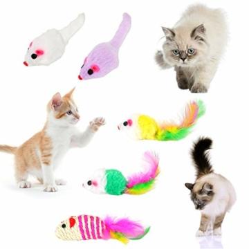 EKKONG 20 Stück Katzenspielzeug Set, Federspielzeug für Katzen, Variety katzenspielzeug Pack, Katze Toys mit Federspielzeug Bälle Maus für Katze Kitty - 5