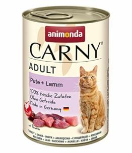 animonda Carny Adult Katzenfutter, Nassfutter für ausgewachsene Katzen, Pute + Lamm, 6 x 400 g - 1