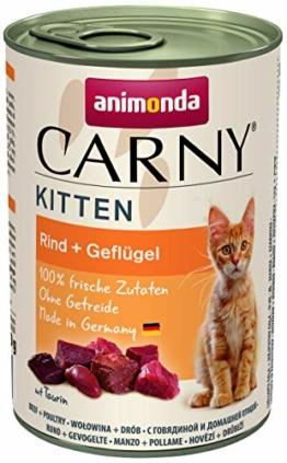 animonda Carny Kitten Katzenfutter, Nassfutter Katzen bis 1 Jahr, Geflügel-Cocktail, 6 x 400 g - 1
