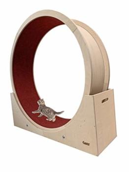 Elmato 10720 Simba XXL Katzenlaufrad komplett montiert deutsche Qualität in Birke Natur, roter Teppich ca. 140cm - 1