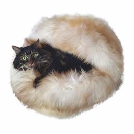Hollert Lammfell - KATZENHÖHLE Kuschelhöhle Katzenbett Schlafplatz aus echtem Merino Schaffell Farbe Natur gescheckt - 1