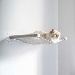LucyBalu x Choupette Limitierte Edition Katzen Hängematte Swing I Wandliege 65 x 10 x 35 cm I Pulverbeschichtetes Metall und natürlicher Wollfilz (Weiß - Champagner-Melange) - 1