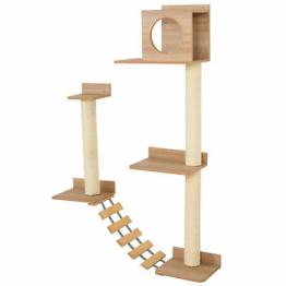 PawHut Kletterwand für Katzen Wandkratzbaum Katzenbaum für Katzen mit Leiter