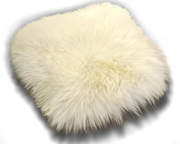 Zaloop Sitzkissen aus echtem Lammfell in versch. Farben und Größen auch medizinisch echt Fell (weiß, ca. 40 x 40 cm) - 1