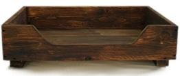 dekorie67 Hundebett aus Holz für kleine Hunde - 60 x 40 cm - Farbe: Braun - Hundekorb/Hundesofa/Katzenbett aus Massivholz - 1