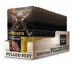 Leonardo Frischebeutel Chicken mit Fleischstreifen [Pulled Beef] 70g | Getreidefreies Nassfutter für Katzen | Alleinfuttermittel Katzenfutter - 1