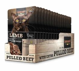 Leonardo Frischebeutel Lamb mit Fleischstreifen [Pulled Beef] 70g | Getreidefreies Nassfutter für Katzen | Alleinfuttermittel Katzenfutter - 1