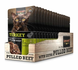 Leonardo Frischebeutel Turkey mit Fleischstreifen [Pulled Beef] 70g | Getreidefreies Nassfutter für Katzen | Alleinfuttermittel Katzenfutter - 1