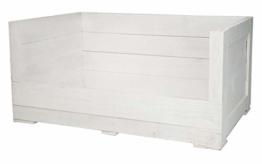 Obstkisten-online 1x weiße HOLZKISTE inklusive grauem Stoffbett - NEU - 90x57x45cm - Hund, personalisierbar Dank Lackierung mit Tafelfarbe, Hundekorb - 1