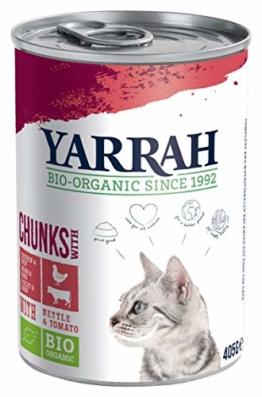 YARRAH Bio Katzenfutter Bröckchen Huhn und Rind 405g, 12er Pack (12 x 405 g) - 1