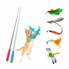 Heiqlay Katzenangel Spielzeug Katzen Angeln Set Katzenspielzeug Feder Katze Teaser Zauberstab Federspielzeug Plüschspielzeug Katzen Angel Interaktives Spielzeug für Katzen, Kätzchen (8 Stück) - 1
