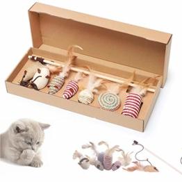 SHUANGJUN Federspielzeug für Katzen mit Glocken Teaser Zauberstab Katzenspielzeug Set Geschenkbox Spielzeugmäuse Interaktives Spielzeug für Verschiedene Spielzeug für Katze Kitty - 1