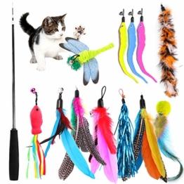 TOPSEAS Katzenspielzeug Feder,13 Stück Katzenspielzeug Katze Toys,Federspielzeug Katze,Einziehbare Katze Teaser Zauberstab Spielzeug Set - 1