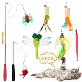 ZWOOS Katzen Federspielzeug, 9 Stück Katzen Spielzeug Einziehbare Katze Teaser Zauberstab Spielzeug Set mit 2 Stangen und 7 Nachfüllfedern Katzenspielzeug für Katzen Kitty - 1