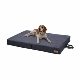 brunolie Paco klappbares Hundebett in Grau, waschbar, orthopädisch und rutschfest, Hundekissen mit atmungsaktivem Memory-Schaum, Größe L 100 x 70 cm - 1
