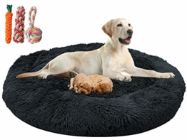 Orthopädisches hundebett flauschig für große und extra große Hunde mittlere hunde,Donut Weiches Plüsch Rundes hundekissen waschbar deepsleep calming bed loop hund (XXXL-120cm Durchmesser,Dunkelgrau) - 1