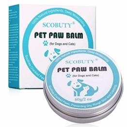Pfotenbalsam Hund, Pfotenpflege Hund, Nasenpflege, Nasenbalsam für Hunde & Katzen für trockene Hundenasen, zur Reparatur von trockener und rissiger Haut, Repariert beschädigte Hundepfoten, 60g - 1